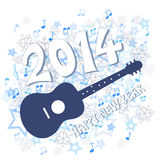 New year 2014. Blue New Year 2014 and guitar illustration Royalty Free Stock Photos