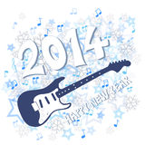 New year 2014. Blue New Year 2014 and guitar illustration Royalty Free Stock Images
