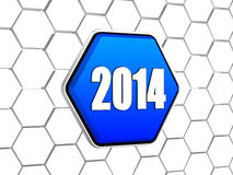 New year 2014 on blue hexagon. New year 2014 - white ciphers on 3d blue hexagon button in cellular structure Royalty Free Stock Photography