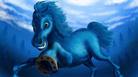 New-year blue horse Stock Images