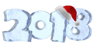 2018 New Year blue ice text with red hat. 2018 new year sign text written with numbers made of clear blue ice with Santa Claus fluffy red hat, happy new year Stock Photos