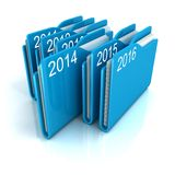 New 2014 year blue office paper file folders row. 3d stock illustration