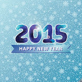 New year 2015.Blue polygons numbers on snowflakes background Royalty Free Stock Image