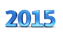 New Year 2015. Blue render ( on white and clipping path Stock Images