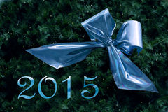 New year 2015, blue ribbon in fir branches with small fairy light Stock Photos