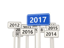 2017 New year on blue road sign. Stock Photography
