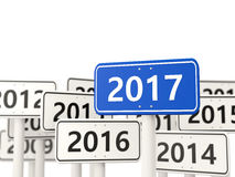 2017 New year on blue road sign. Royalty Free Stock Photo