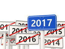 2017 New year on blue road sign. Royalty Free Stock Image