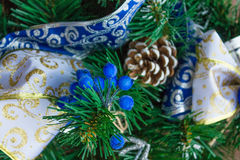 New Year blue and silver bow and ribbon Stock Photos