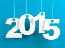 New Year 2015 Blue. New year 2015 tags hanging on strings on blue background Stock Photography
