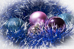 New Year blue tinsel and balls Stock Image