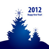 New Year with Blue Trees Royalty Free Stock Photography