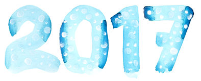 New year 2017. Blue watercolor number  on the white background Stock Images