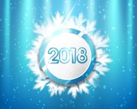 2018 New Year with blue and white circles and tree branches on lighting background.Vector illustration. 2018 New Year with blue and white circles and tree Stock Image