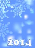 New year 2014. Blue winter background new year 2014 with snowflakes Royalty Free Stock Image