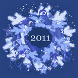 New Year blue wreath Royalty Free Stock Photos