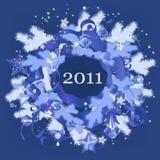 New Year blue wreath. Decorative Christmas, New Year blue wreath Royalty Free Stock Photos