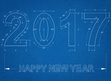 New year 2017 - Blueprint Royalty Free Stock Photography
