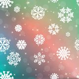 New year blur background with snowflakes Stock Photos