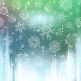 New year blur background with snowflakes Stock Image