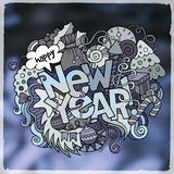 New Year blurred background. New Year hand lettering and doodles elements blurred background. Vector illustration Royalty Free Stock Photos
