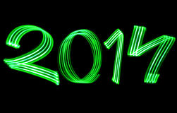 New Year 2014 Blurred Green Lights Royalty Free Stock Image