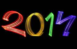 New Year 2014 Blurred Raindow Lights Royalty Free Stock Photography