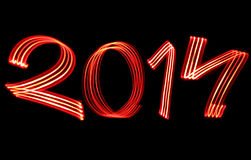 New Year 2014 Blurred Red Lights Stock Image