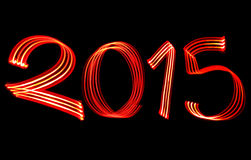 New Year 2015 Blurred Red Lights Royalty Free Stock Photos