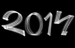 New Year 2014 Blurred White Lights Royalty Free Stock Photography