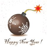 New Year bomb. Isolated New Years bomb ready to explode. New Year theme Stock Images