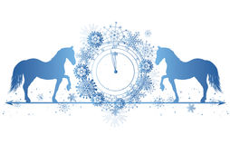 New Year border with horses and clock Stock Photos