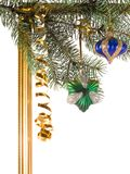 New-year borders. Wiht fir-tree on white background Royalty Free Stock Images