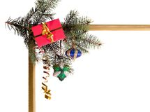 New-year borders. Wiht fir-tree on white background royalty free stock photo