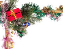 New-year borders. Wiht fir-tree on white background Stock Photo