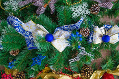 New Year bow-knot from blue and white ribbon Royalty Free Stock Images