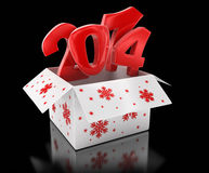 New year 2014 in box (clipping path included) Royalty Free Stock Image