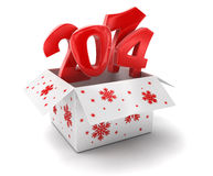 New year 2014 in box (clipping path included). 2014 text. High quality 3D render. Image with clipping path Stock Image