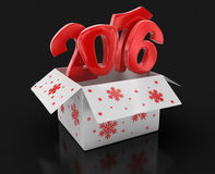New year 2016 in box (clipping path included). 2016 text. High quality 3D render. Image with clipping path Royalty Free Stock Photography