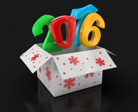 New year 2016 in box (clipping path included). 2016 text. High quality 3D render. Image with clipping path Royalty Free Stock Photo