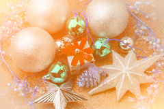 New year box gift with silver ball around royalty free stock photo
