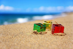 New year boxes on beach Royalty Free Stock Image