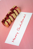 New Year boxes with a congratulatory card Stock Photo