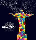 New year 2015 Brazil poster design. Happy new year 2015 greeting card or poster design with colorful triangle Brazil monument and vintage label illustration Royalty Free Stock Image