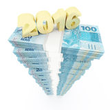 New year 2016 and Brazilian Reais stack Royalty Free Stock Images