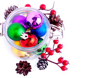New Year bright color decoration ball in glass can Royalty Free Stock Photography