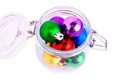 New Year bright color decoration ball in glass can Stock Image