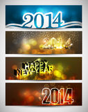New year 2014 bright colorful four headers and ban. Ners set Stock Image
