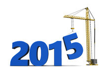 New year building. 3d illustration of sign 2015 and crane, over white background Stock Image