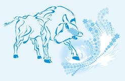New year bull. Whith swirl snowflake vector illustration